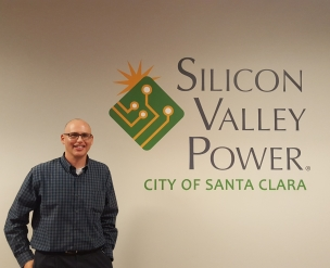 Ted Salazar with SVP Logo Sign